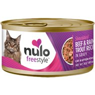 Nulo Freestyle Shredded Beef & Rainbow Trout in Gravy Grain-Free Canned Cat & Kitten Food, 3-oz, case of 24