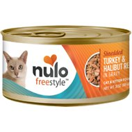 Nulo Freestyle Shredded Turkey & Halibut in Gravy Grain-Free Canned Cat Food, 3-oz, case of 24