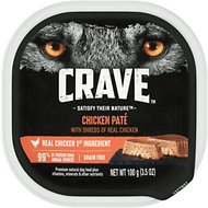 Crave Chicken Pate with Shreds of Real Chicken Grain-Free Dog Food Trays, 3.5-oz, case of 24