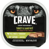 Crave Turkey & Lamb Pate with Protein from Shreds of Real Chicken Grain-Free Dog Food Trays, 3.5-oz, case of 24