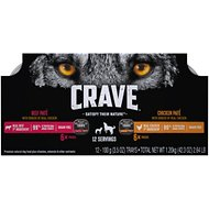 Crave Chicken Pate & Beef Pate with Protein from Shreds of Real Chicken Variety Pack Grain-Free Dog Food Trays, 3.5-oz, pack of 12
