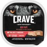 Crave Beef Pate with Protein from Shreds of Real Chicken Grain-Free Dog Food Trays, 3.5-oz, case of 24