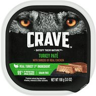 Crave Turkey Pate with Protein from Shreds of Real Chicken Grain-Free Dog Food Trays, 3.5-oz, case of 24