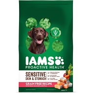 Iams ProActive Health Sensitive Skin & Stomach with Real Salmon & Lentils Grain-Free Dry Dog Food, 4.4-lb bag