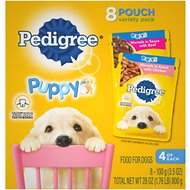 Pedigree Puppy Variety Pack Morsels in Sauce with Beef & Chicken Wet Dog Food Pouches, 3.5-oz, pack of 8