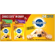 Pedigree Choice Cuts in Gravy Variety Pack Filet Mignon, Grilled Chicken, Chicken Casserole & Beef Noodle Wet Dog Food Pouches, 3.5-oz, case of 24