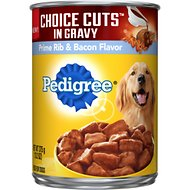 Pedigree Choice Cuts in Gravy Prime Rib & Bacon Flavor Canned Dog Food, 13.2-oz, case of 12