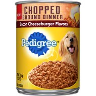 Pedigree Chopped Ground Dinner Bacon Cheeseburger Flavors Canned Dog Food, 13.2-oz, case of 12