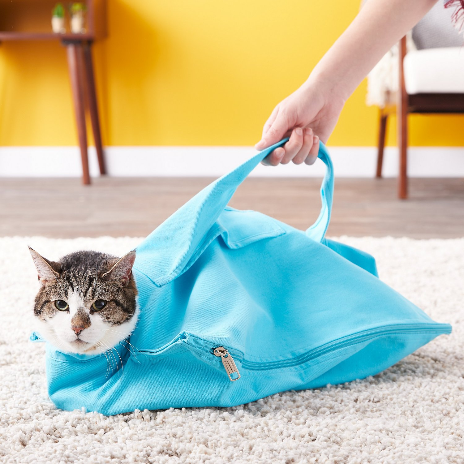 80a5d34da2c Cat-in-the-bag E-Z-Zip Cat Carrier, Light Blue, Small - Chewy.com