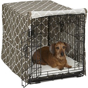 MidWest Quiet Time Crate Cover, Brown Geometric, 30-in; Help support your canine companion's natural denning instinct with a MidWest Quiet Time Crate Cover. This easy-to-use crate cover simply slips over the top of your MidWest crate to create a quiet, private sanctuary that offers your precious pup a relaxing space to rest in comfort while you're away. The lightweight polyester construction allows for proper ventilation and will fit 1, 2 or 3 door crates, allowing easy access and entry from all available doors. The crate's slide-out plastic pan can also still be removed with the cover in place.