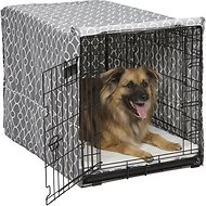 MidWest Quiet Time Crate Cover, Gray Geometric, 36-in