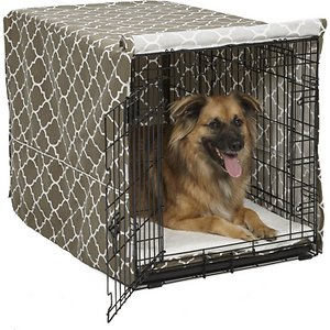 MidWest Quiet Time Crate Cover, Brown Geometric, 36-in; Help support your canine companion's natural denning instinct with a MidWest Quiet Time Crate Cover. This easy-to-use crate cover simply slips over the top of your MidWest crate to create a quiet, private sanctuary that offers your precious pup a relaxing space to rest in comfort while you're away. The lightweight polyester construction allows for proper ventilation and will fit 1, 2 or 3 door crates, allowing easy access and entry from all available doors. The crate's slide-out plastic pan can also still be removed with the cover in place.