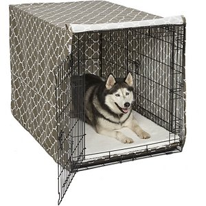 MidWest Quiet Time Crate Cover, Brown Geometric, 48-in; Help support your canine companion's natural denning instinct with a MidWest Quiet Time Crate Cover. This easy-to-use crate cover simply slips over the top of your MidWest crate to create a quiet, private sanctuary that offers your precious pup a relaxing space to rest in comfort while you're away. The lightweight polyester construction allows for proper ventilation and will fit 1, 2 or 3 door crates, allowing easy access and entry from all available doors. The crate's slide-out plastic pan can also still be removed with the cover in place.
