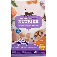 Rachael Ray Nutrish Longevity Natural Chicken with Chickpeas & Salmon Recipe Dry Cat Food, 3-lb bag