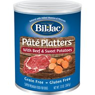 Bil-Jac Pate Platters with Beef & Sweet Potatoes Canned Dog Food, 13-oz, case of 12