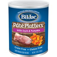Bil-Jac Pate Platters Grain-Free with Duck & Pumpkin Canned Dog Food, 13-oz, case of 12