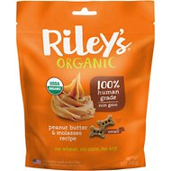 Riley's Organic Peanut Butter & Molasses Recipe Biscuit Dog Treat, 5-oz bag, Small