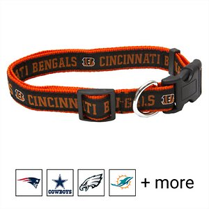 Pets First NFL Nylon Dog Collar, Cincinnati Bengals, Large: 14 to 24-in neck, 1-in wide