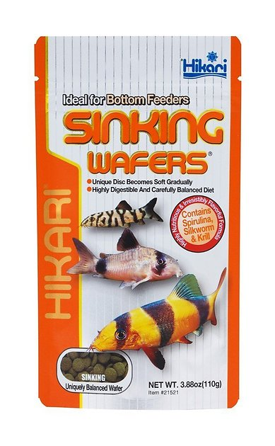 Hikari Sinking Wafers Bottom Feeders Fish Food 3 88 Oz Pouch