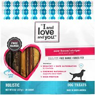 I and Love and You Cow-Boom! Strips Beef Gullet Dog Chews, 6-in, 20 count