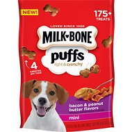 Milk-Bone Puffs Bacon & Peanut Butter Flavors Crunchy Dog Treats, Mini, 8-oz bag