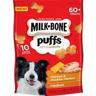 Milk-Bone Puffs Chicken & Cheddar Flavors Crunchy Dog Treats, Medium, 8-oz bag