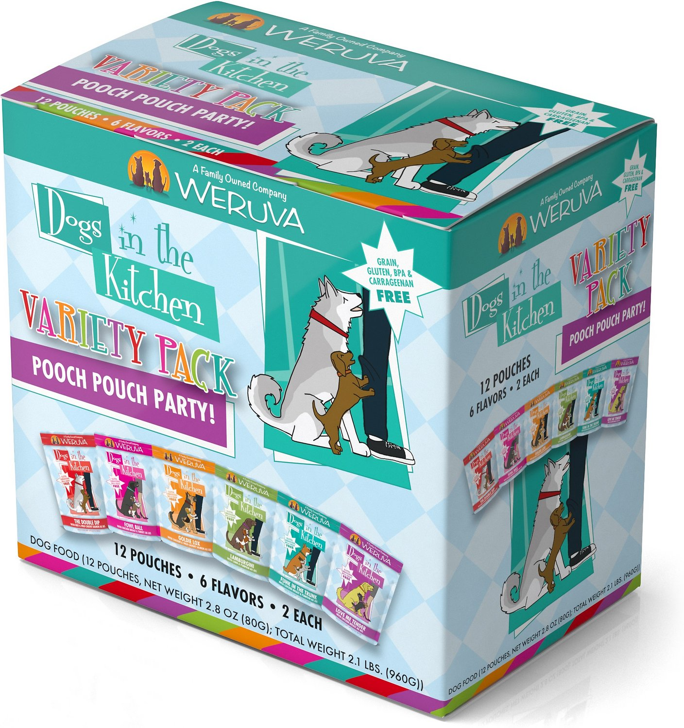 Weruva Dogs in the Kitchen Pooch Pouch Party! Variety Pack Grain ...