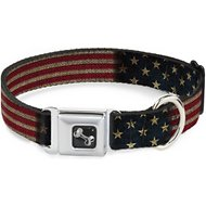 Buckle-Down Vintage US Flag Seatbelt Buckle Dog Collar, Wide Large