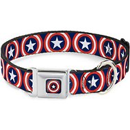 Buckle-Down Captain America Shield Seatbelt Buckle Dog Collar, Medium