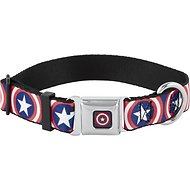 Buckle-Down Captain America Shield Seatbelt Buckle Dog Collar, Wide Large