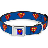 Buckle-Down Superman Shield Seatbelt Buckle Dog Collar, Wide Large