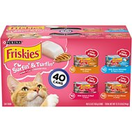 Friskies Surfin' & Turfin' Favorites Variety Pack Canned Cat Food, 5.5-oz, case of 40
