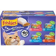 Friskies Pate Seafood & Chicken Variety Pack Canned Cat Food, 5.5-oz, case of 40