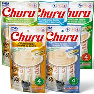 Inaba Churu Grain-Free Chicken, Tuna, Scallop Puree Variety Pack Lickable Cat Treat, 0.5-oz tube, pack of 20