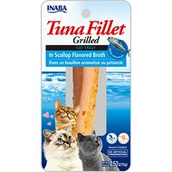 Inaba Ciao Grain-Free Grilled Tuna Fillet in Scallop Flavored Broth Cat Treat, 0.52-oz pouch