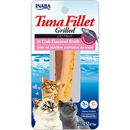Inaba Ciao Grain-Free Grilled Tuna Fillet in Crab Flavored Broth Cat Treat, 0.52-oz pouch