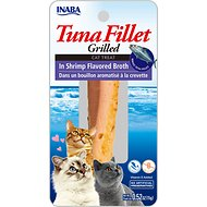 Inaba Ciao Grain-Free Grilled Tuna Fillet in Shrimp Flavored Broth Cat Treat, 0.52-oz pouch
