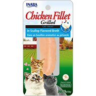 Inaba Ciao Grain-Free Grilled Chicken Fillet in Scallop Flavored Broth Cat Treat, 0.9-oz pouch