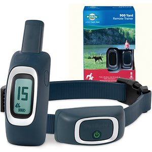 PetSafe Remote Trainer Dog Collar, 900-yd, Standard; If your pup is a ball full of fun, but needs a little help with his social graces, the PetSafe Lite Remote Trainer is your go-to tool. This digital remote and waterproof collar works to gently correct his behavior with the simple push of a button while on walks, at the dog park or running around the backyard. Even better? It's all off-leash! Through tone, vibration and 15 levels of static stimulation, the trainer helps stop unwanted habits like lunging, digging and chewing. Available in several different ranges, it features a safety lock for high levels of stimulation to ensure your dog is kept safe and comfortable.
