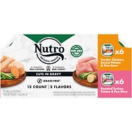 Nutro Petite Eats Variety Pack Chef Inspired Chicken & Roasted Turkey Cuts in Gravy Adult Dog Food Trays, 3.5-oz, pack of 12