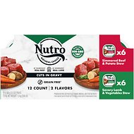 Nutro Simmered Beef & Savory Lamb Stew Variety Pack Cuts in Gravy Adult Dog Food Trays, 3.5-oz, case of 12