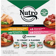 Nutro Beef, Chicken, Turkey & Lamb Stew Variety Pack Cuts in Gravy Adult Dog Food Trays, 3.5-oz, case of 24
