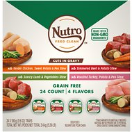 Nutro Grain-Free Beef, Chicken, Turkey & Lamb Stew Cuts in Gravy Variety Pack Dog Food Trays, 3.5-oz, case of 24