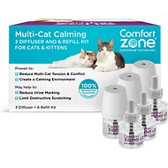 Comfort Zone Calming Multi-Cat Diffuser Kit, 3 diffusers, 6 refills