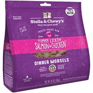 Stella & Chewy's Yummy Lickin' Salmon & Chicken Dinner Morsels Freeze-Dried Raw Cat Food, 18-oz bag