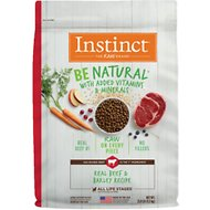 Instinct Be Natural Real Beef & Barley Recipe Freeze-Dried Raw Coated Dry Dog Food, 25-lb bag