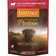 Instinct by Nature's Variety Ultimate Protein Grain-Free USA-Raised Beef Recipe Wet Dog Food Topper, 3-oz pouch, case of 24