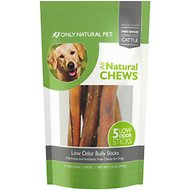 Only Natural Pet Free-Range Low Odor Bully Stick Dog Chew, 6-in, 5 count