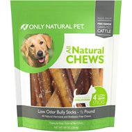Only Natural Pet Free-Range Low Odor Bully Stick Dog Chew, 4-in, 8-oz bag