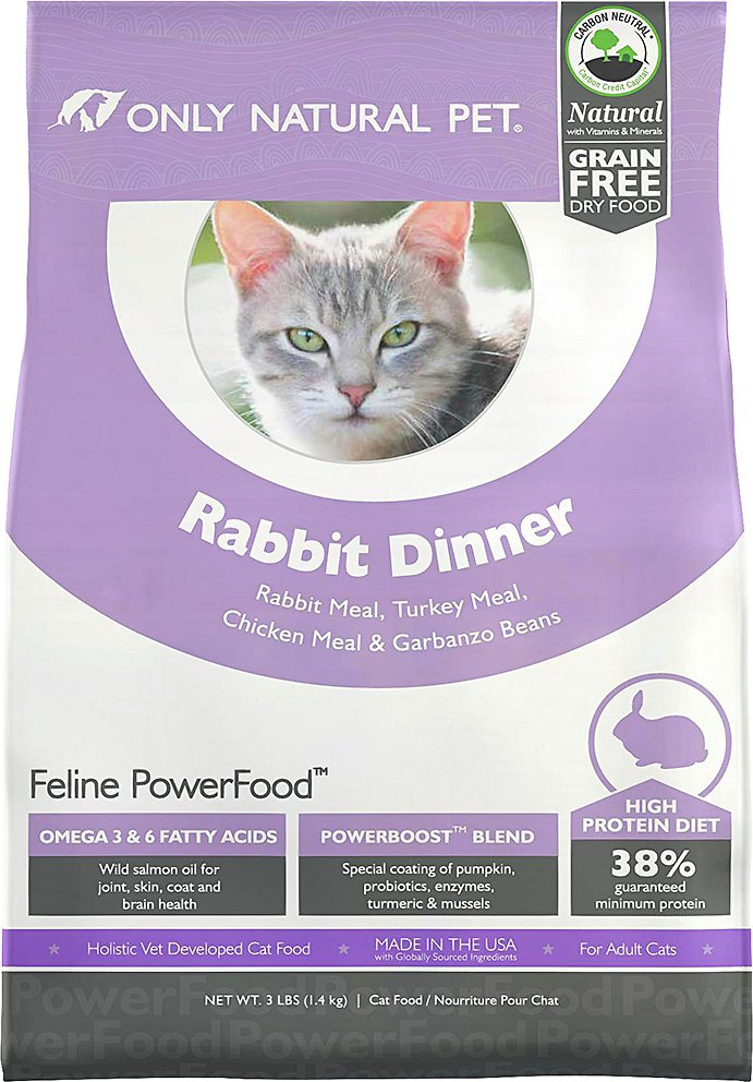 4cfd9907af Only Natural Pet Feline PowerFood Rabbit Dinner Grain-Free Dry Cat Food